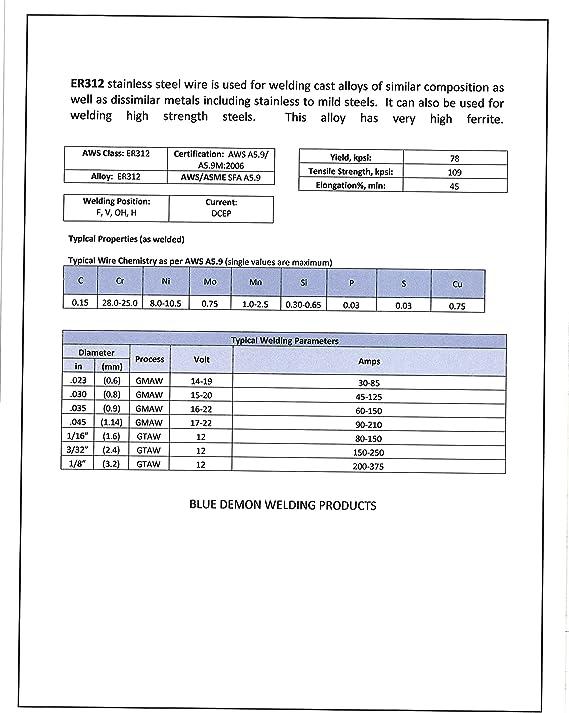 "ER347 X 1//16/"" X 36/"" X 10 lb box TIG rods Blue Demon stainless steel welding wire"
