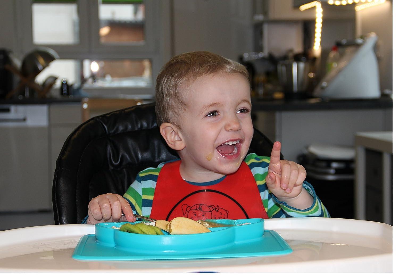 Blau haftet am Tisch Auto FBA -Zugelassen Platzset sp/ülmaschinegeeignet rutschfest BPA-frei bruchsicher Teller f/ür Babys und Kinder aus Silikon mit Ansaugfunktion und Unterteilung