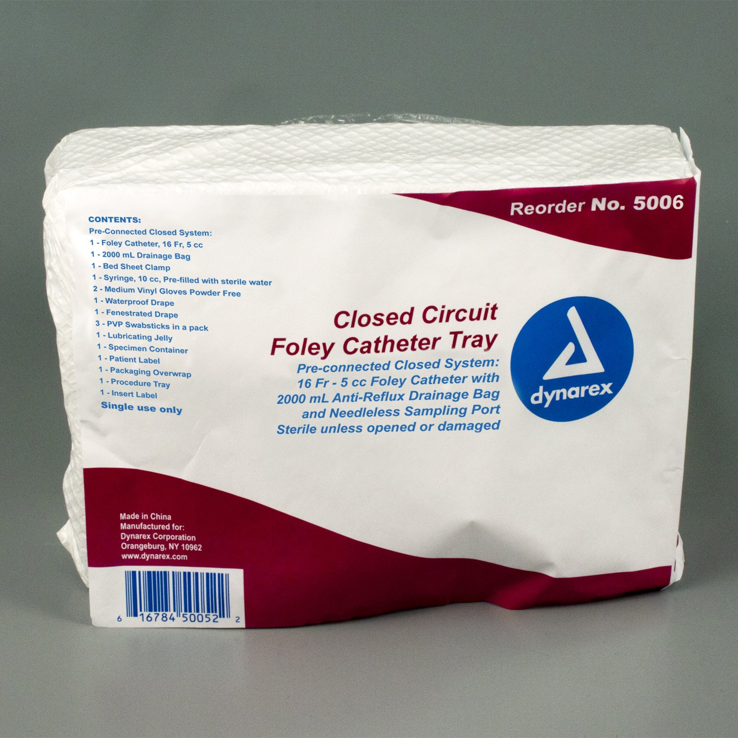 Dynarex 5006 Closed Circuit Foley Catheter Tray, Sterile 16 FR (Pack of 10)