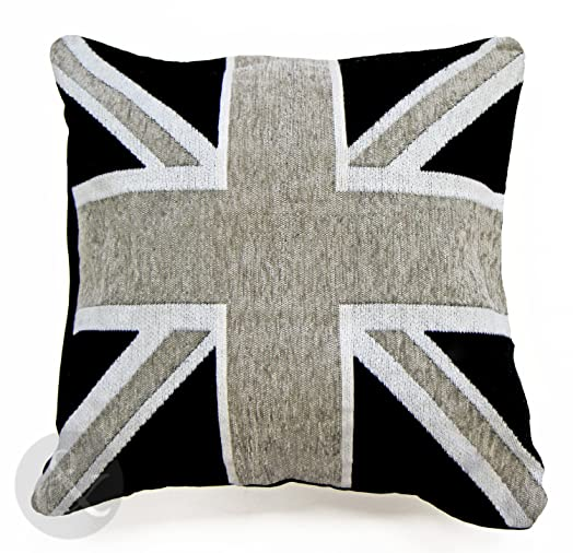 UNION JACK FLAG LUXURY CHENILLE CUSHIONS Black Grey White Scatter Cushion  Covers Black Filled Cushion 18&quot