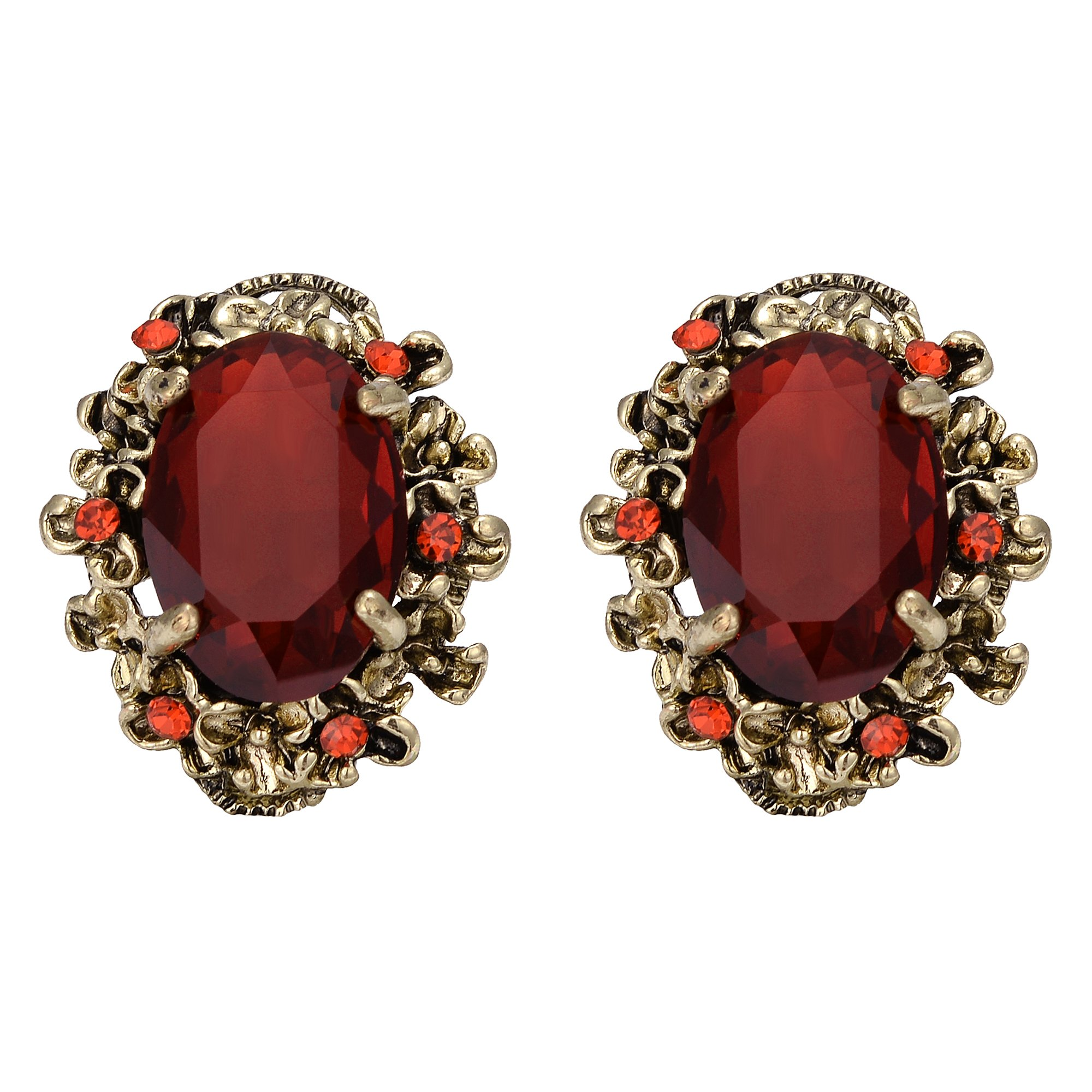 BriLove Antique-Gold-Toned Stud Earrings Women's Victorian Style Crystal Floral Scroll Cameo Inspired Oval Earrings Ruby Color