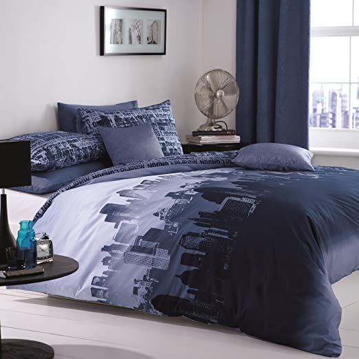 Catherine Lansfield Ciudad sábanas, 100% algodón, Azul, Matrimonio, 1 x 260 x 280 cm, 3 Unidad: Amazon.es: Hogar