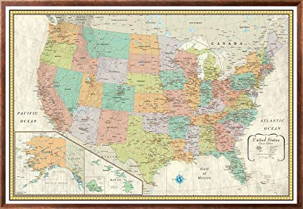 Amazon.com : 32x50 RMC Classic United States USA Wall Map Framed ...