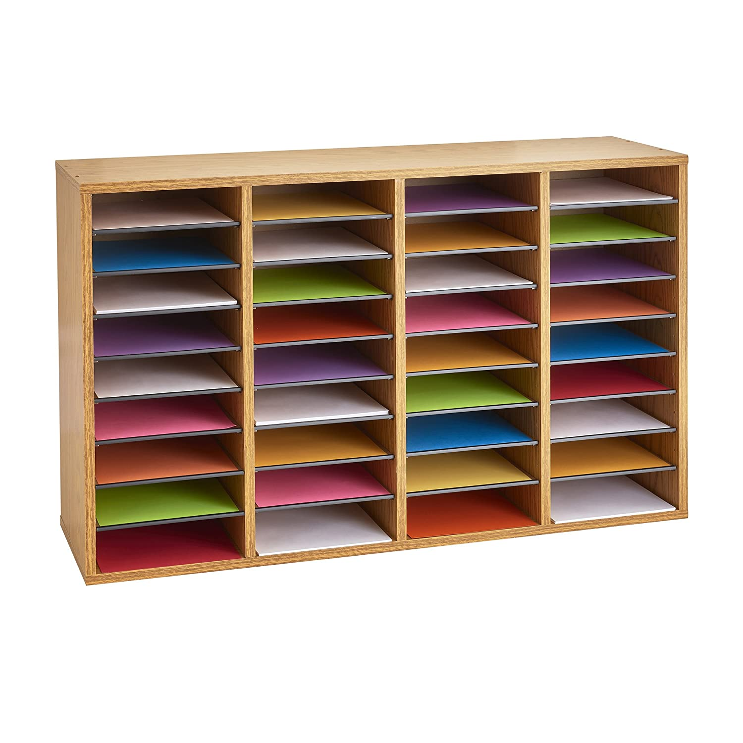 Safco Products Wood Adjustable Literature Organizer 36 Compartment 9424mo Medium Oak Durable Construction Removable Shelves Stackable