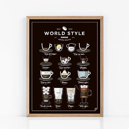 Follygraph Cartel de café - World Style Coffee - Art, póster, gráfico, Print - 21x30, 30x40 (21x30)