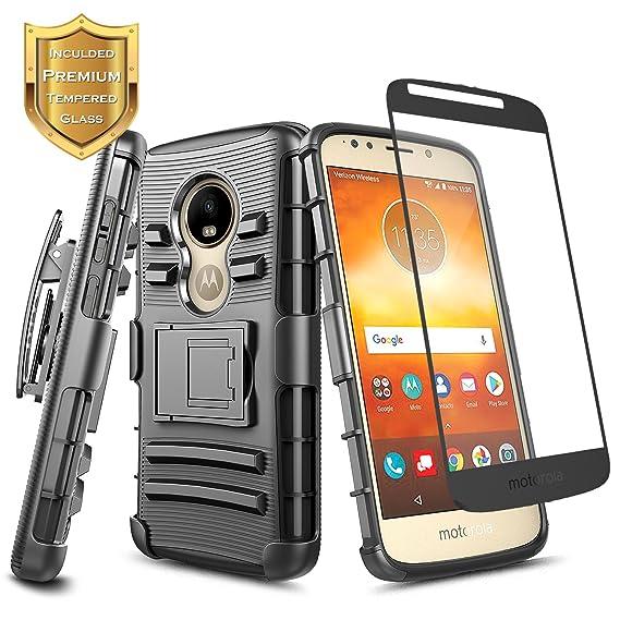 premium selection b8d90 dbd2f Amazon.com: Moto E5 Case w/ [Full Coverage Tempered Glass Screen ...
