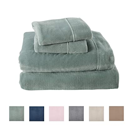 Great Bay Home Extra Soft Cozy Velvet Plush Sheet Set. Deluxe Bed Sheets with Deep Pockets. Velvet Luxe Collection (Twin, Jade) best twin-sized fleece sheet sets