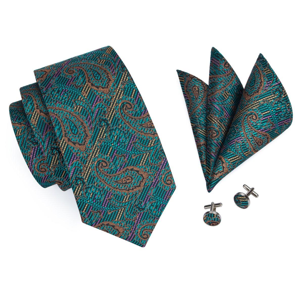 Barry.Wang Mens Retro Tie Cufflinks and Handkerchief Sets