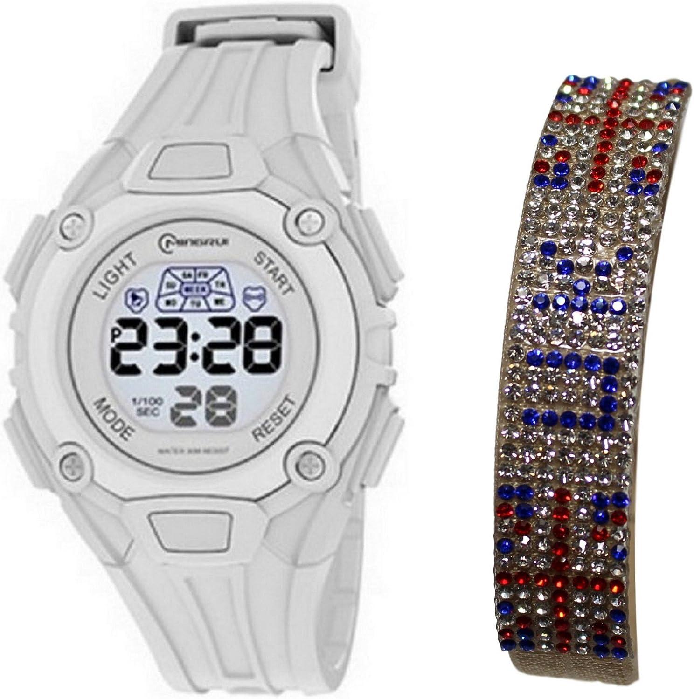 Coffret reloj mujer ado digitale + pulsera London pedrería bandera Inglés UK brillantes: Amazon.es: Relojes