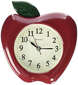 "Westclox FBA_32038A 3D Apple Wall Clock, 10"", Red/Green"