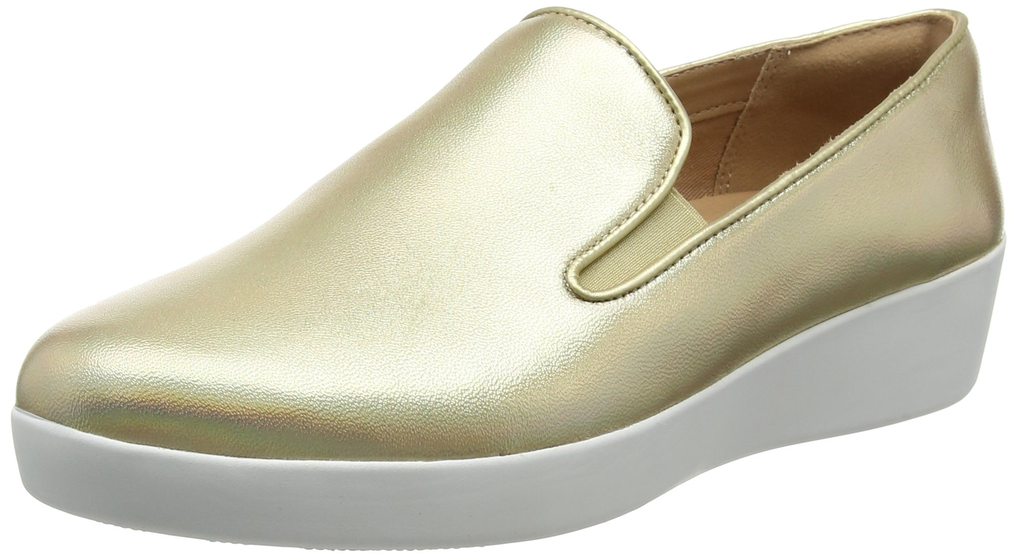 FitFlop Women's Superskate Sneaker, Gold Iridescent, 8 M US