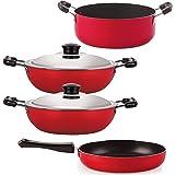 Nirlon Aluminium Cookware Set, 4-Pieces, Red and Black, 2.6mm_FP10_DKD(M)_DKD(B)_Cass22