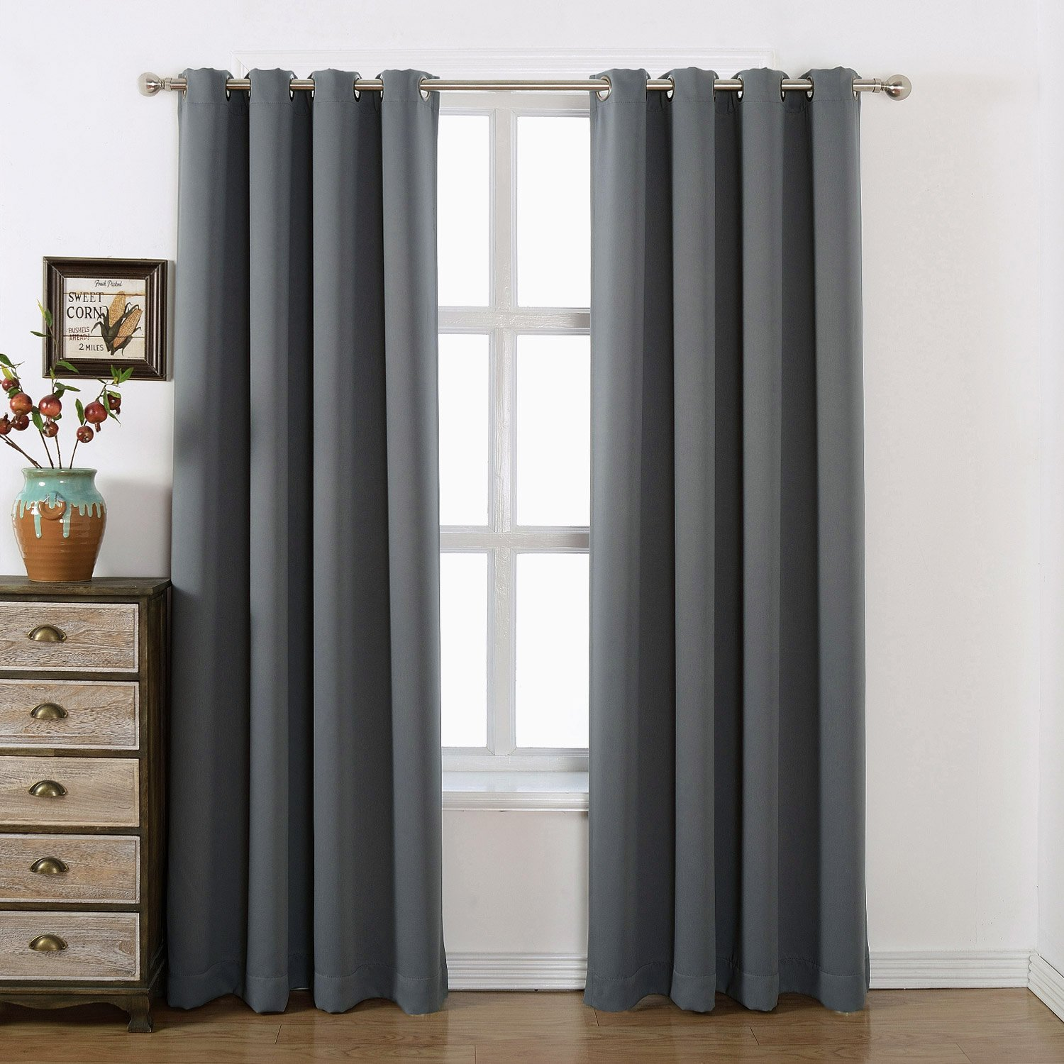 Cafe curtains for bedroom - Amazlinen 52x84 Inch Grommet Top Blackout Curtains With Tie Back Charcoal Grey Set Of 2