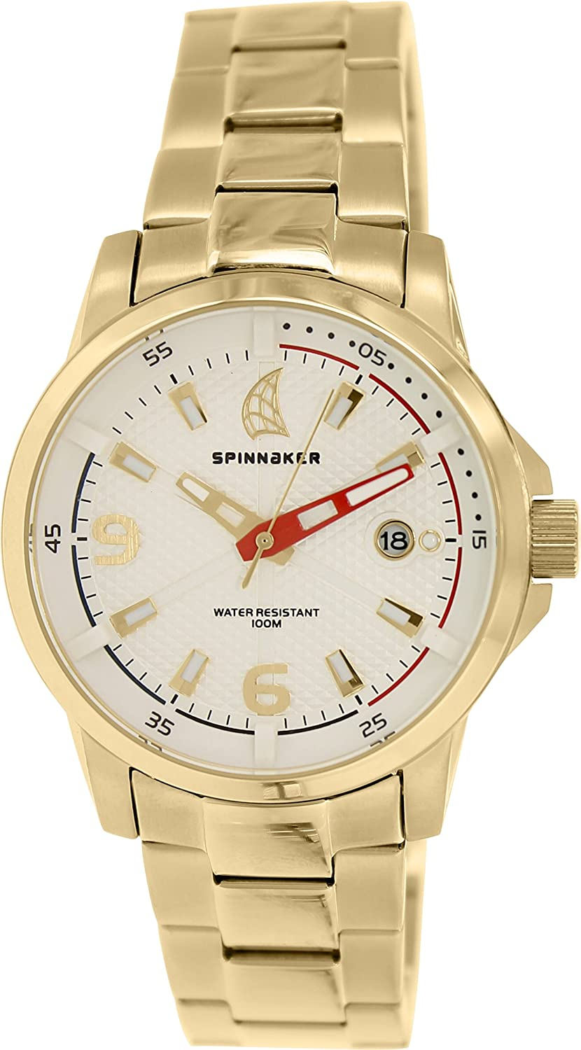 Spinnaker – sp-5003 – 44 – Wheel & Winch – Armbanduhr – Quarz Analog – Weißes Ziffernblatt – Armband Stahl vergoldet