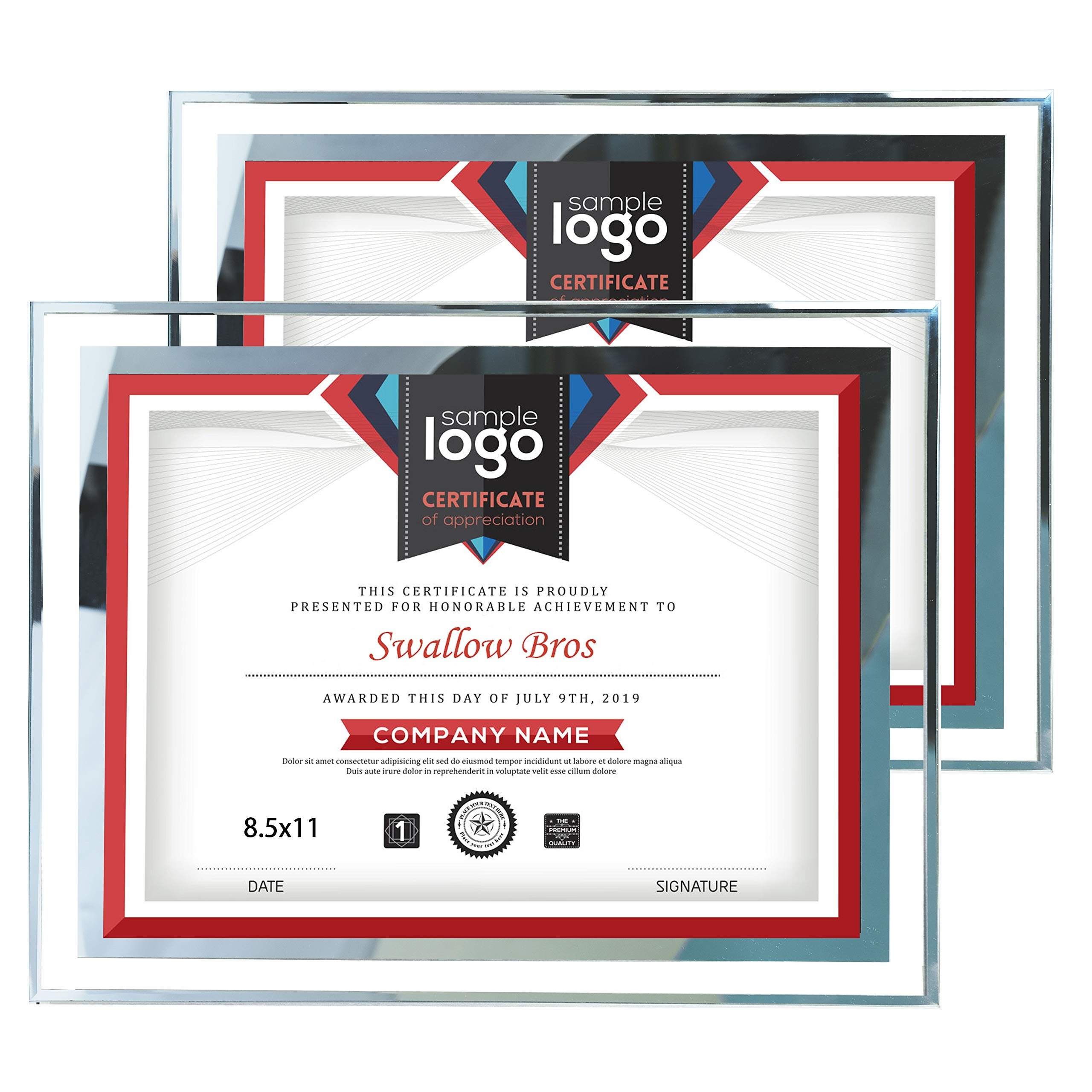 Swallow Bros 2 Pack Frame for Certificate 8.5 x 11 Document Frames Wall and Tabletop Display, Silver by Swallow Bros