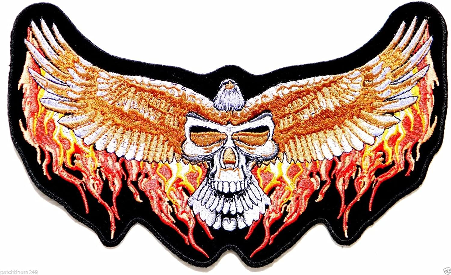 Charging Eagle Orange Flames Patch Eagle Back Patches