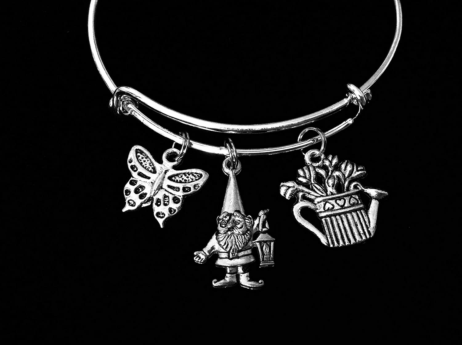 Garden Gnome Gardeners Bracelet Adjustable Charm Bracelet Silver Expandable Bangle One Size Fits All Gift Butterfly Flowers Planter Custom and Personalization Options Available