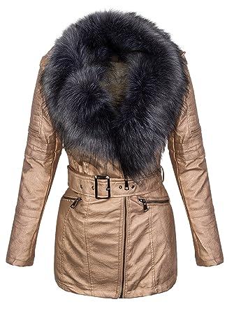 Damen Kunstleder Mantel Winterjacke Kunstfellkragen Jacke lang Teddyfell D-353   PU2116 Gold-GrauFell 656c203ce3