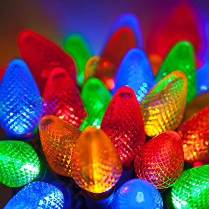C7 Led Christmas Lights.C7 Led Faceted Multicolor Prelamped Light Set Green Wire 25 C7 Multi Color Led Christmas Lights 8 Spacing