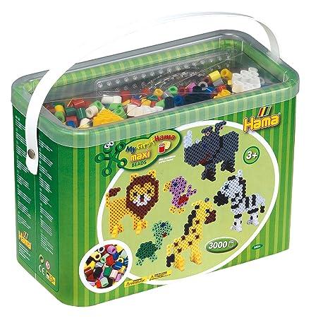 Hama 8804 Bügelperlen Maxi, ca. 3000 Stück im Eimer, inklusive Stiftplatten Quadrat, Kreis und Stern sowie Zubehör, Mehrfarbi