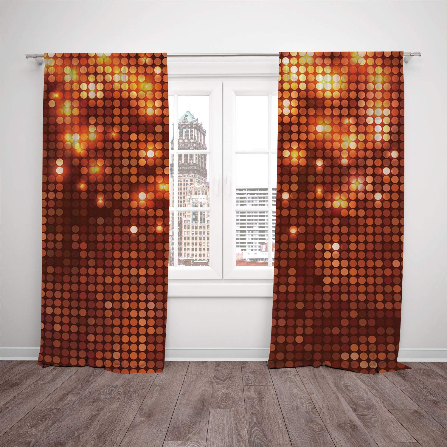 SCOCICI Satin Window Drapes Kitchen Curtains [ Copper Decor,Vibrant Colored Dots Spotted Mosaic Design Energetic Pattern Print Decorative,Burgundy Orange Yellow] Bedroom Living Room Dorm Kitchen Cafe