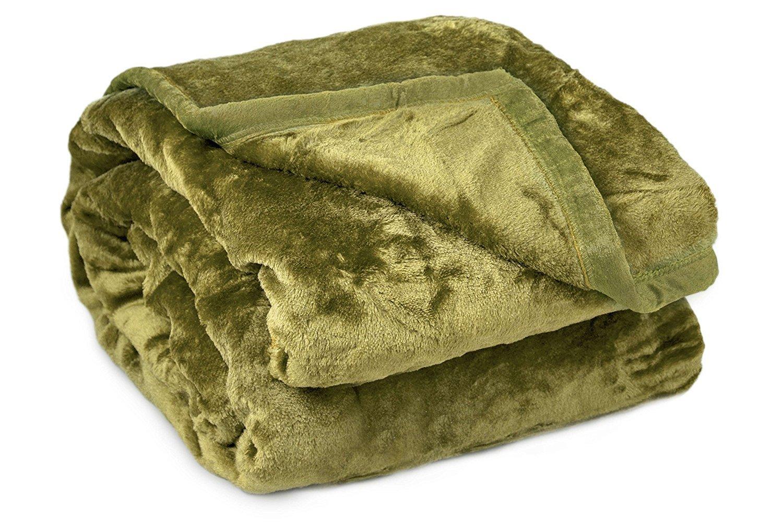 Archangel Reversable 2Ply Queen Solid Mink Blanket - Sage