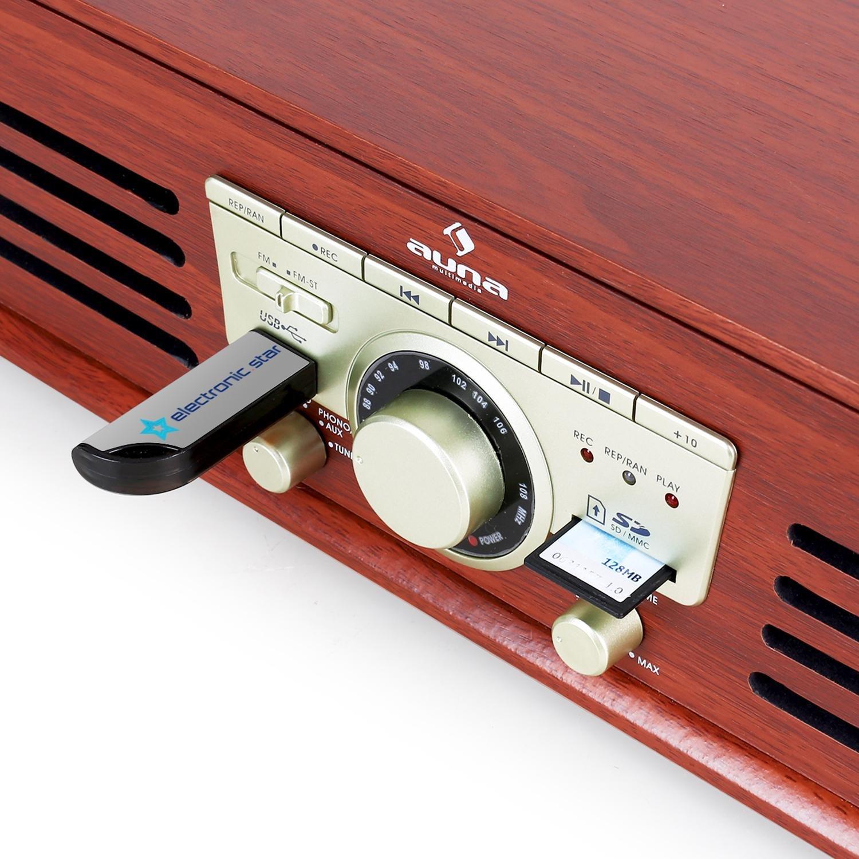 auna TT-92W - Tocadiscos, Reproductor de vinilos, Altavoces ...