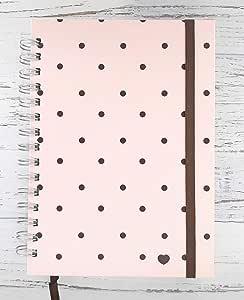 Caderno Bullet Journal - Poá Rose e Marrom (75g, Pontilhado 100 folhas)