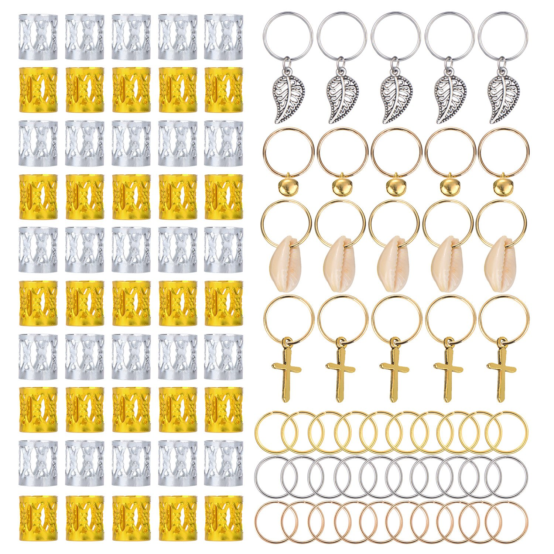 Total 100 Piezas de Decoraci/ón de Pelo Bisuter/ía de Trenza Estilos Multiples 50 Piezas de Anillo de Rasta Pu/ños de Dreadlocks de Aluminio y 50 Piezas de Accesorios de Clip de Pelo Trenzado