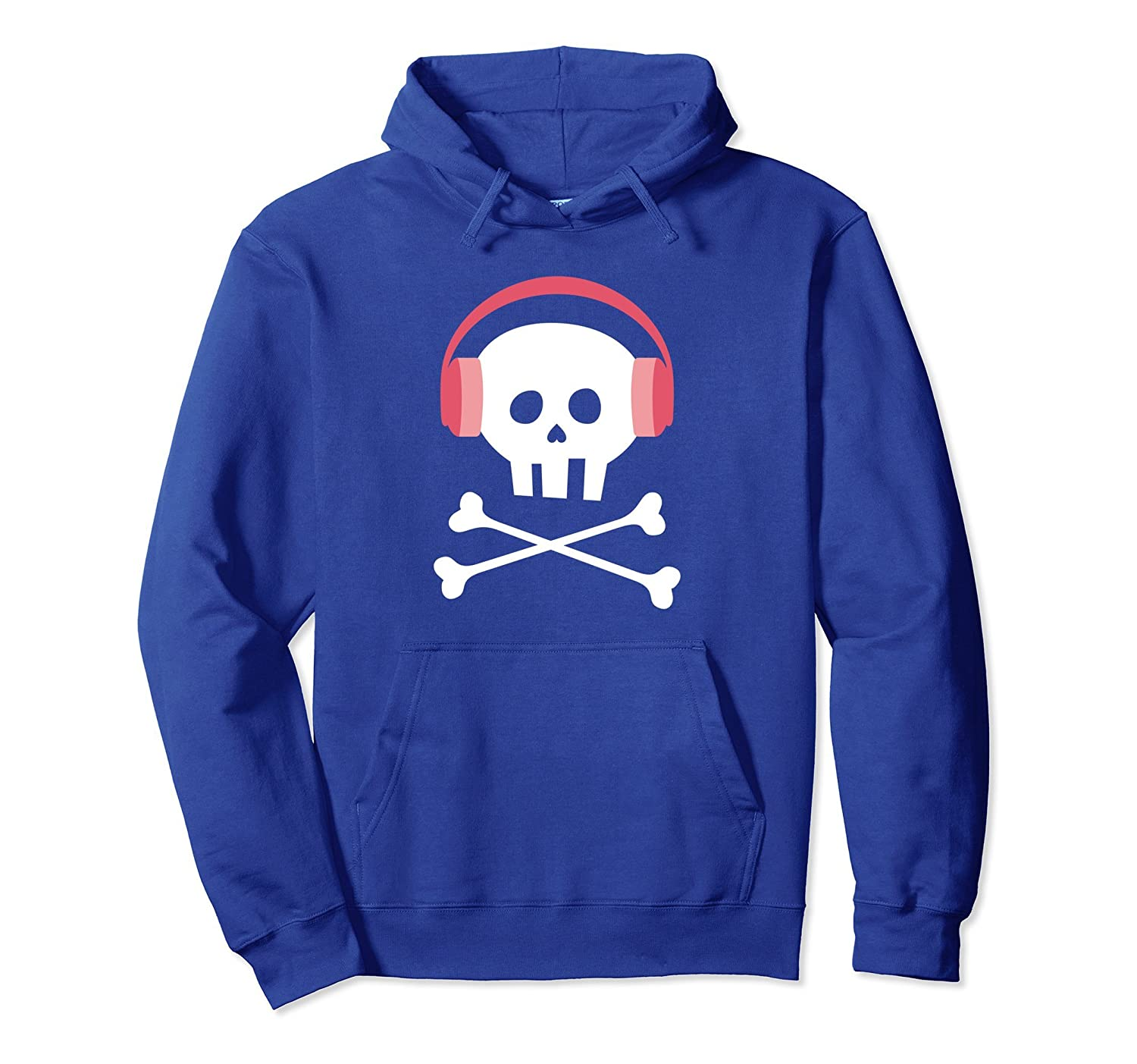 Cute Skull with Headphones Hoodie for Girls and Women-mt