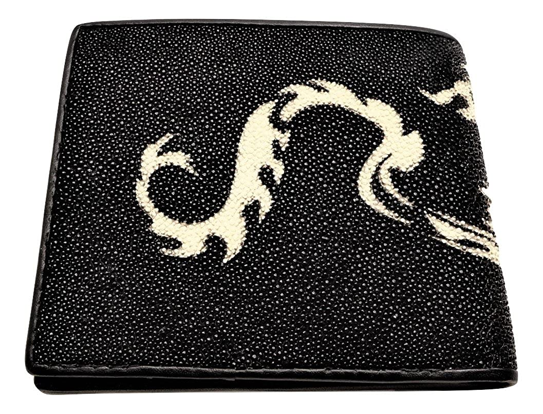 Genuine Stingray Leather Wallet Bifold White Dragon Paint Wide 4.5 x Length 4