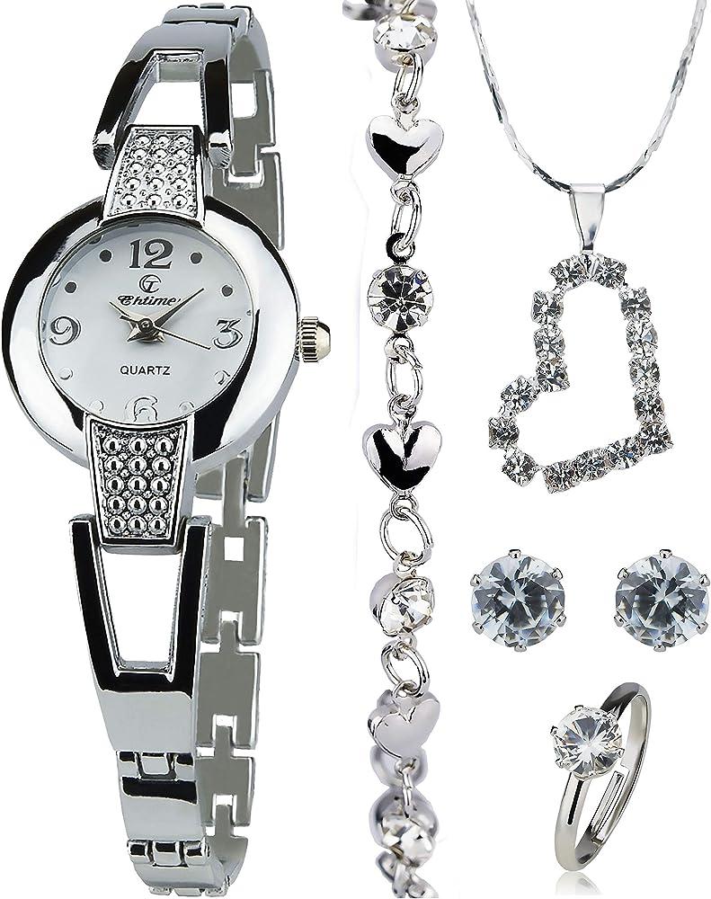 Caja de Regalo Reloj Mujer - Juegos de Joyas- Collar-Anillo- Pendientes: Amazon.es: Relojes