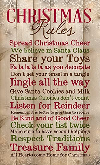 Amazon.com: Christmas Rules Family Cheer Snowflakes 15 x 9 inch ...