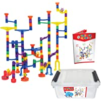 Maze of Marbles 125-Pieces Marble Run Toy Set with 25 Glass Marble Balls & Storage Box Container