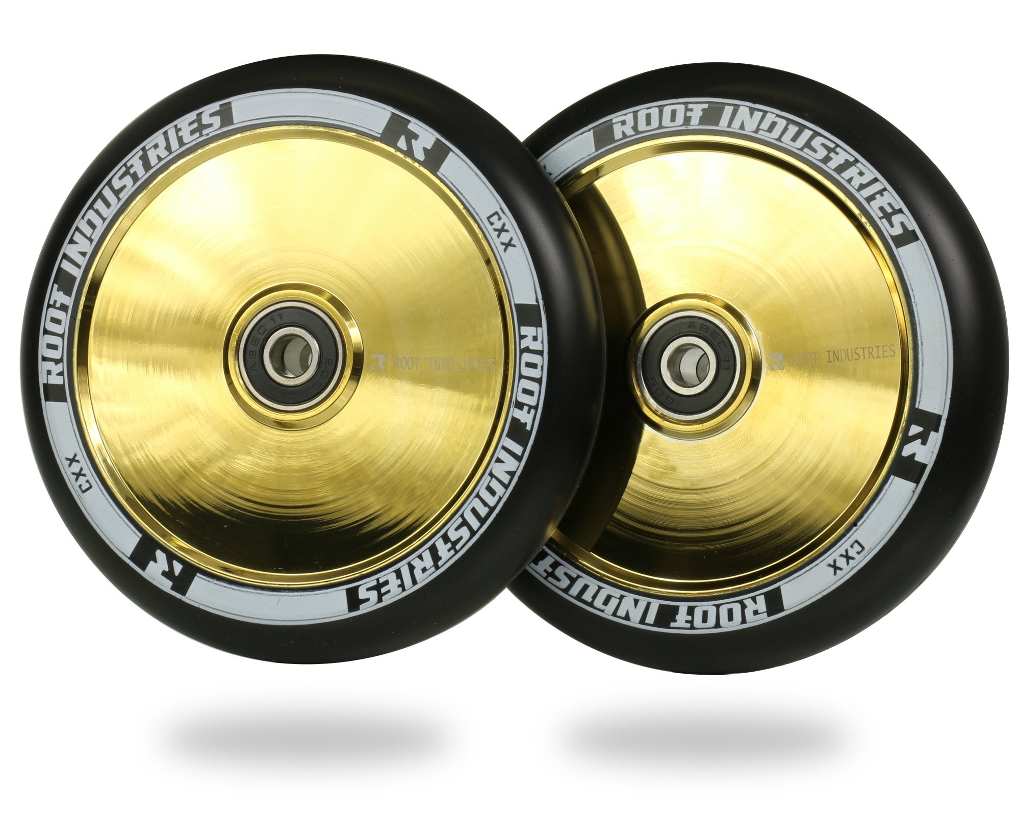 120mm AIR Pro Stunt Trick Kick Scooter Wheels (Pair) - Smooth Fast Hollowcore - Push Scooter Tires - 120mm Freestyle Speed Urethane - Fit Most Setups - 24mm x 120mm - Bearings (Black/Gold Rush)