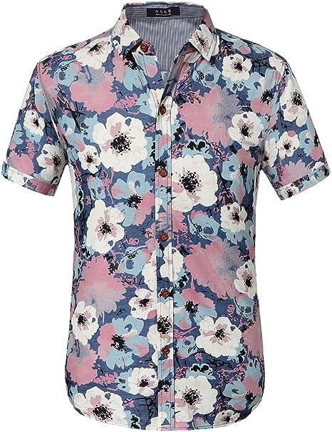 fa74f3def66 SSLR Men s All Over Printing Short Sleeve Denim Shirt  Amazon.ca ...