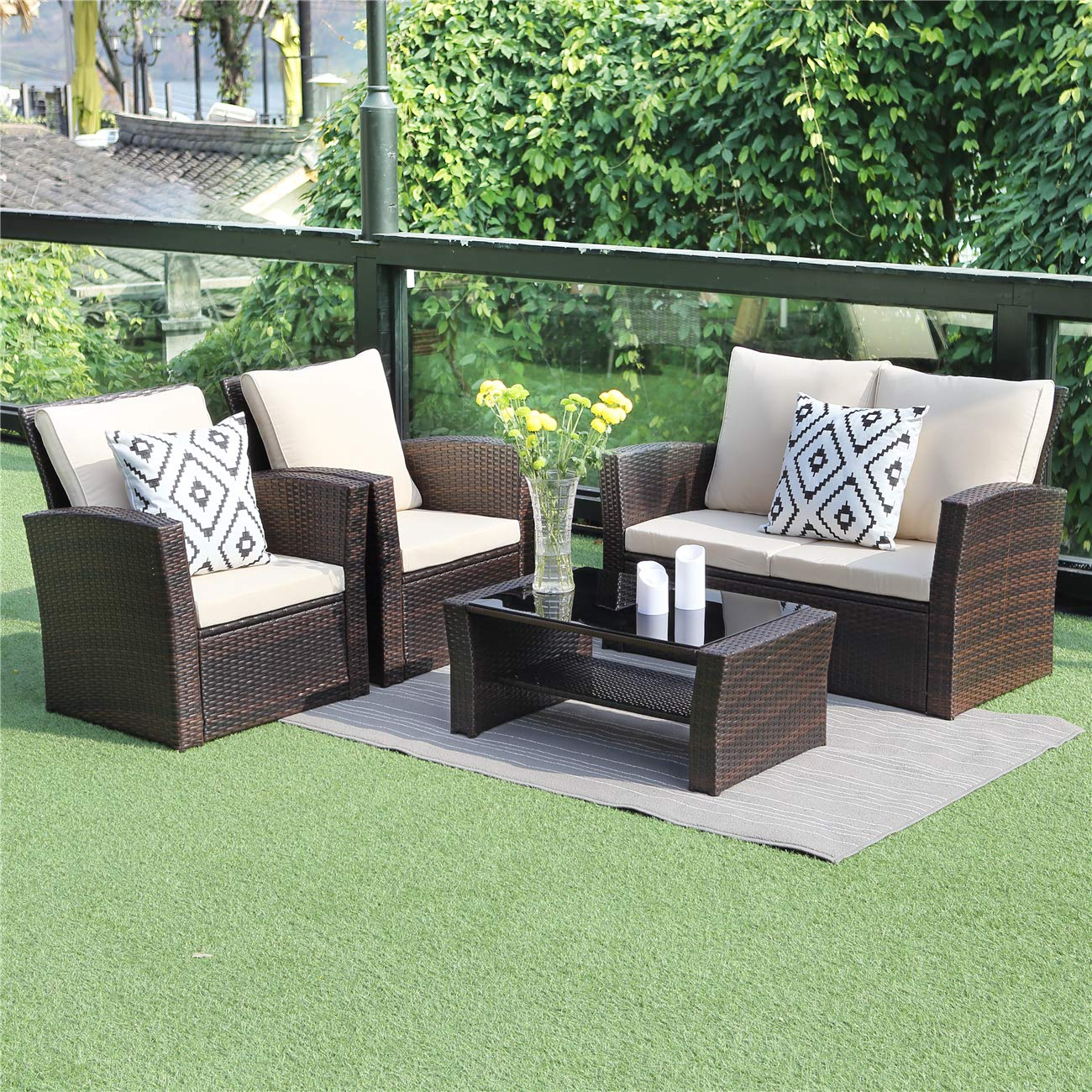 Wisteria Lane 5 Piece Outdoor Patio Furniture Sets, Wicker Ratten Sectional Sofa with Seat Cushions,Brown by Wisteria Lane
