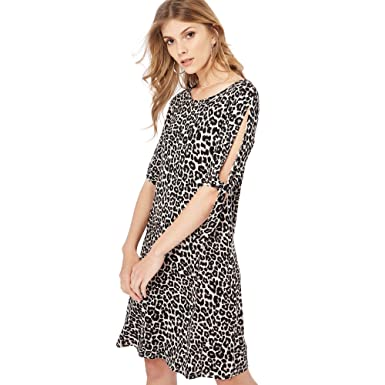 910774d69b9886 Debenhams The Collection Womens Multi-Coloured Leopard Print Knee Length  Dress 8