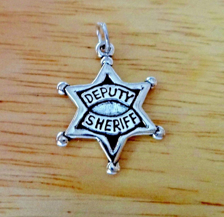 Fine Charms Sterling Silver 23x17mm Deputy Sheriff Star Badge