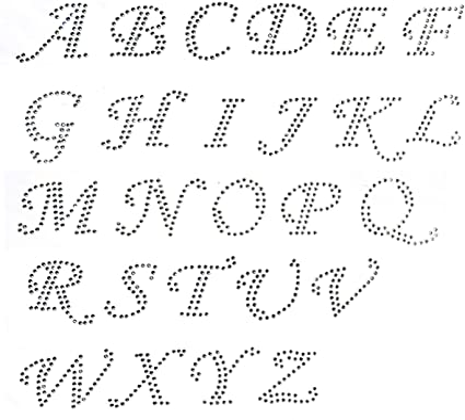 Glitter Letters /& Numbers IRON-ON Hot Fix FABRIC TRANSFER Script Custom Sticker