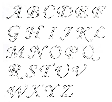 Pick 15 letters Cursive Alphabet Letters Appx 2 Inches Clear Rhinestone  Iron on Hotfix Transfer Decal Handmade USA