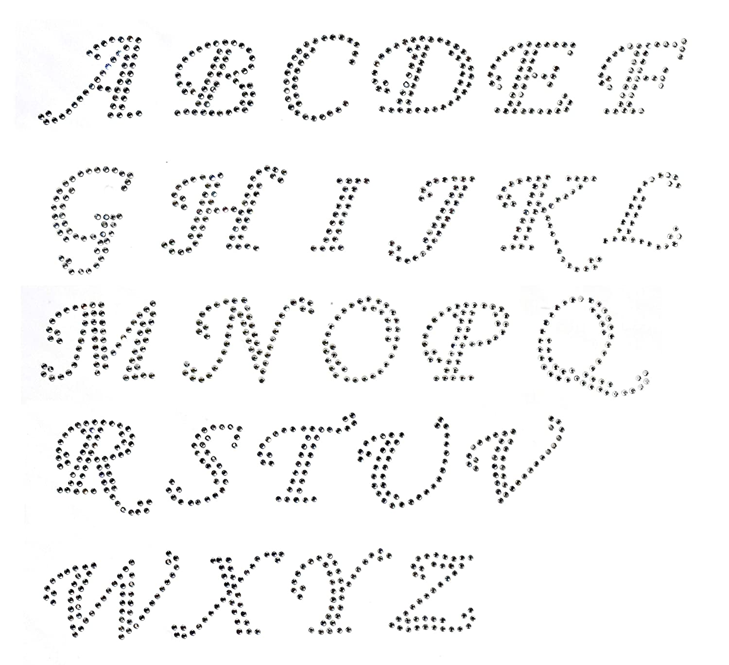 Pack of Cursive Alphabet 26 letters A to Z Clear Rhinestone Iron on Hotfix  Transfer  All Caps 