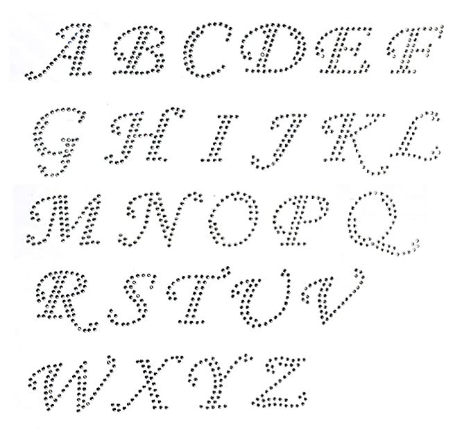 Alphabet Pictures For Each Letter Black And White.Pack Of Cursive Alphabet 26 Letters A To Z Clear Rhinestone Iron On Hotfix Transfer All Caps
