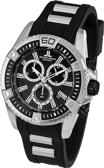 Jacques Lemans Liverpool Professional - Reloj de cuarzo para hombre, con correa de goma,