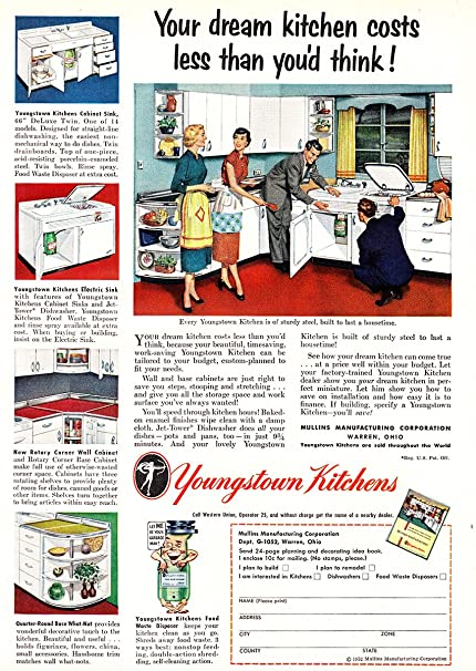 1952 Youngstown Kitchens: Dream Kitchen Costs Less, Youngstown Kitchens  Print Ad