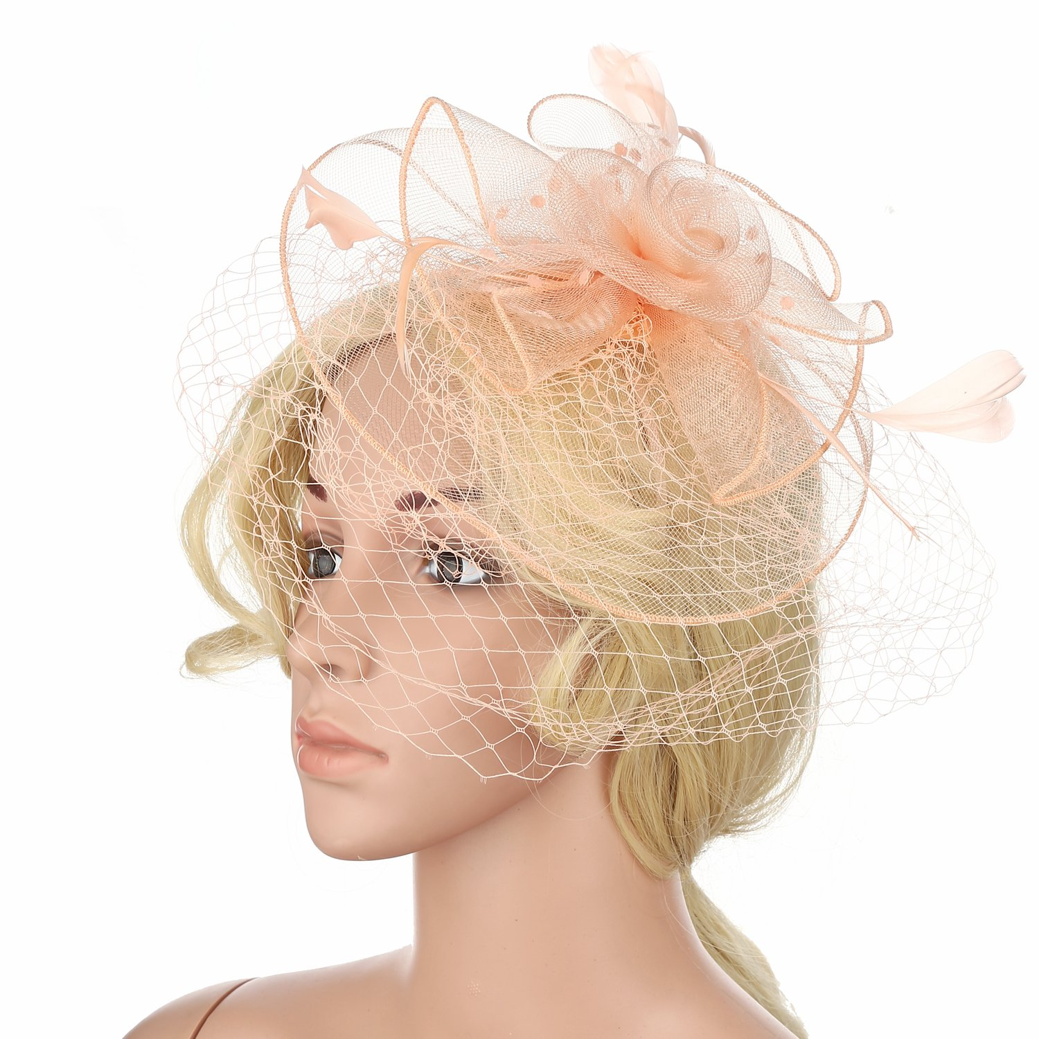 XingQiPlay Feather Mesh Net Womens Fascinators Hat with Veil Headband Hair Clip for Girls (Champagne