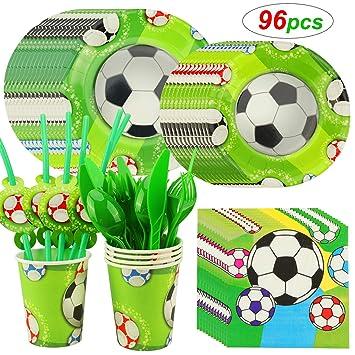 HOWAF Fútbol Kit de Mesa Fiesta, Set de Vajilla Desechables Infantil para Fútbol Cumpleaños Fiesta Accesorios, 88 Piezas: Servilletas Platos Tazas ...