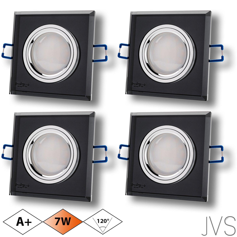 LED Einbaustrahler aus Glas/Spiegel/Schwarz CRISTAL Eckig Inkl. 4 X ...