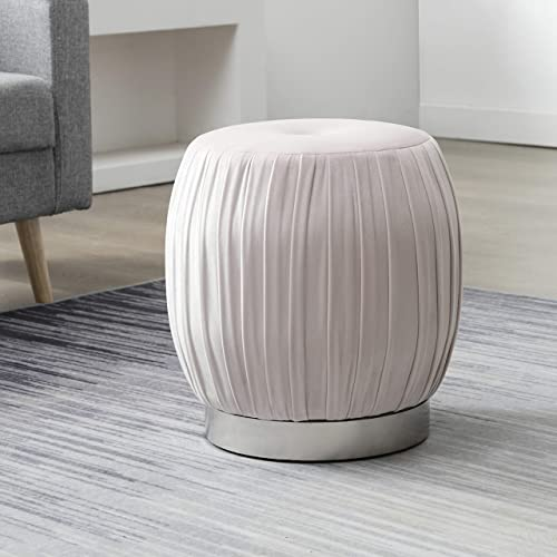 Art Leon Velvet Ottoman, Pleated Tufted Small Round Vanity Stool, Modern Upholstered Foot Rest Ottoman Stool Seat with Silver Plated Base for Dresser Bathroom Bedroom Living Room Office Light Pink