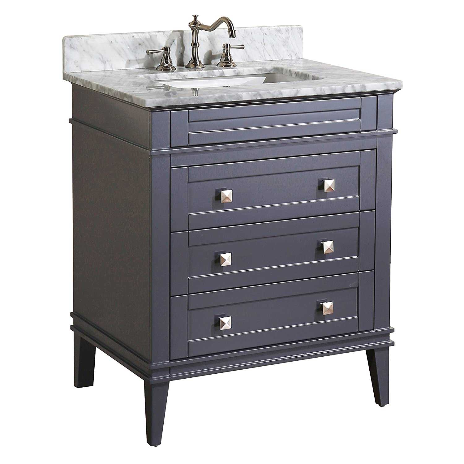 Eleanor 30-inch Bathroom Vanity Carrara Charcoal Gray Includes a Charcoal Gray Cabinet, Soft Close Drawers, a Natural Italian Carrara Marble Countertop, and a Ceramic Sink